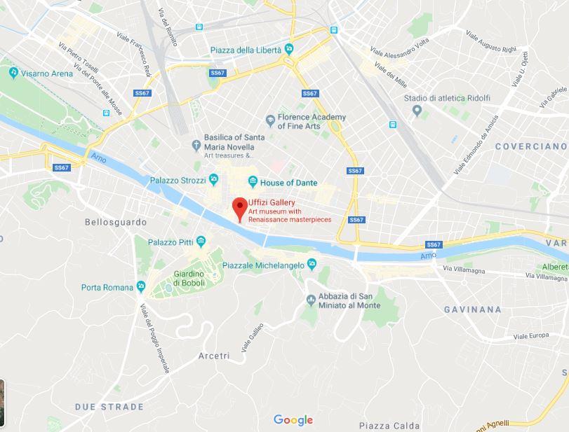 Расположение объекта на карте Флоренции